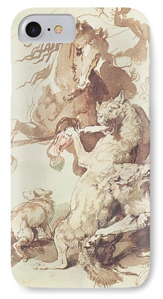 Sketch For A Wolf Hunt IPhone Case by Peter Paul Rubens