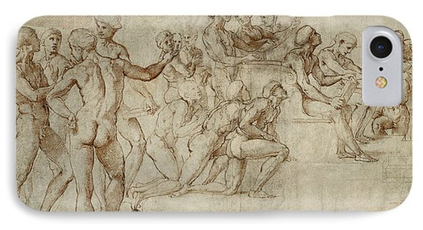 Sketch For The Lower Left Section Of The Disputa IPhone Case by Raphael