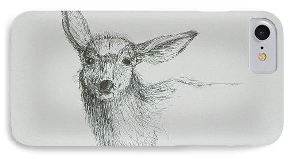 Sketch Of A Mule Deer Doe IPhone Case by Dawn Senior-Trask