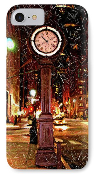 Sketch Of Midtown Clock In The Snow Phone Case by Randy Aveille