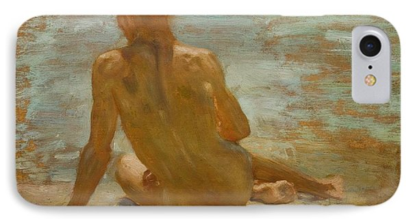 Sketch Of Nude Youth Study For Morning Spelendour Phone Case by Henry Scott Tuke