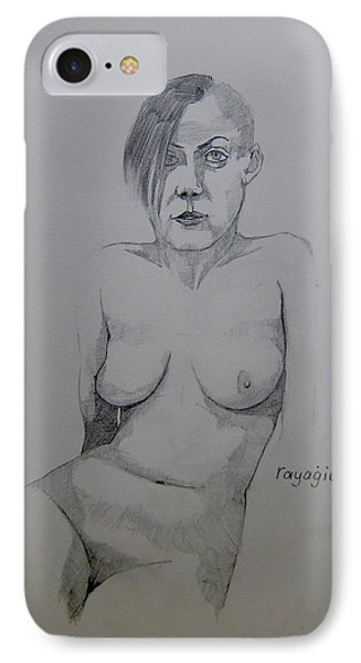 IPhone Case featuring the drawing Sketch Reclining Cassie by Ray Agius