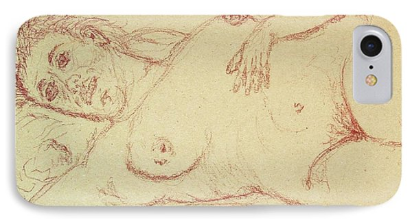 Nude Laying In Red IPhone Case by Rand Swift