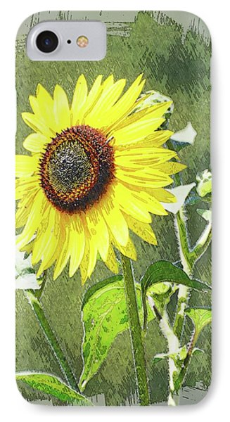 Sketchy Sunflower 1 IPhone Case by Marty Koch