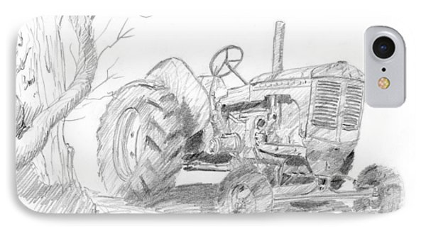Sketchy Tractor IPhone Case by David King