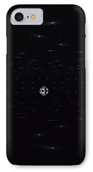 IPhone Case featuring the digital art Skewed Cone Orbit At Night by Sheila Mcdonald