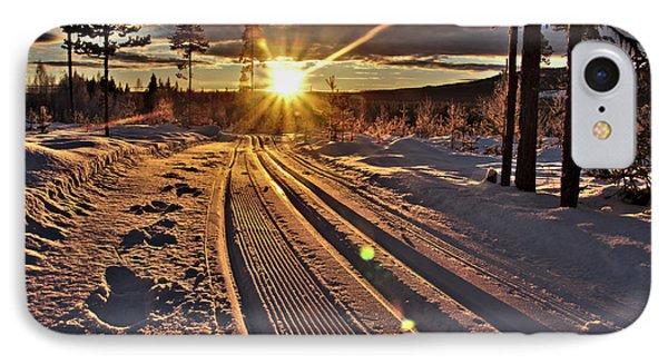 Ski Trails With Sun Beams IPhone Case by Tamara Sushko