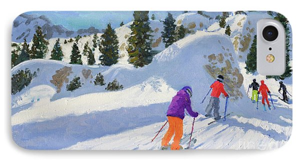 Skiing, Rock City, Selva Gardena, Italy IPhone Case by Andrew Macara
