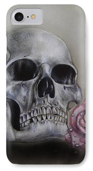 Skull And Rose IPhone Case by Jonathan Anderson