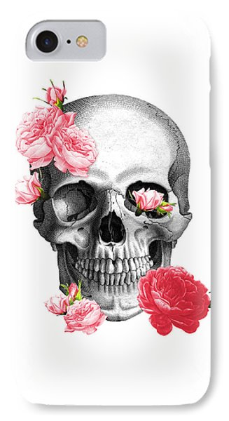 Skull With Pink Roses Framed Art Print IPhone Case