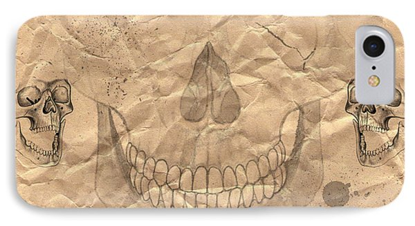 Skulls In Grunge Style Phone Case by Michal Boubin