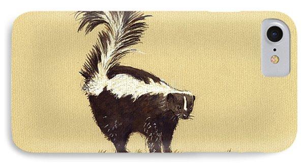 Skunk Watercolor IPhone Case by Juan  Bosco