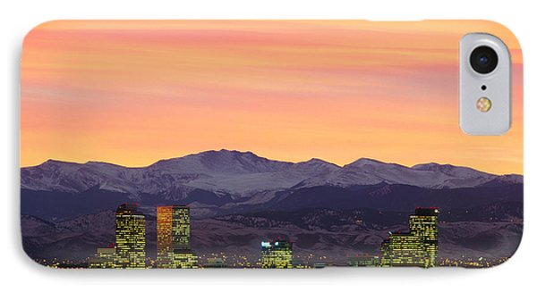 Skyline And Mountains At Dusk, Denver IPhone Case by Panoramic Images