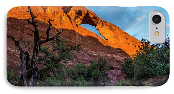 IPhone Case featuring the photograph Skyline Arch At Sunset - Arches National Park - Utah by Gary Whitton