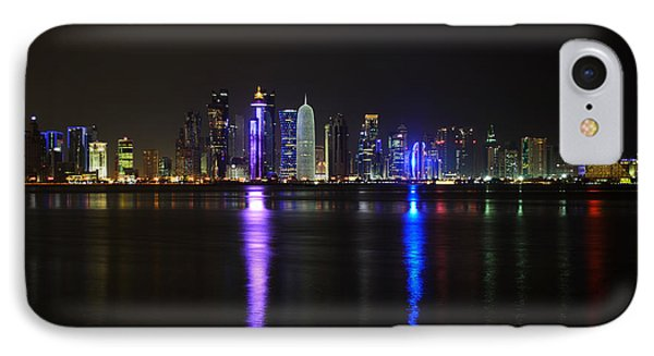 Skyline Of Doha, Qatar At Night IPhone Case by IPics Photography