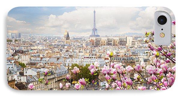skyline of Paris with eiffel tower IPhone Case by Anastasy Yarmolovich