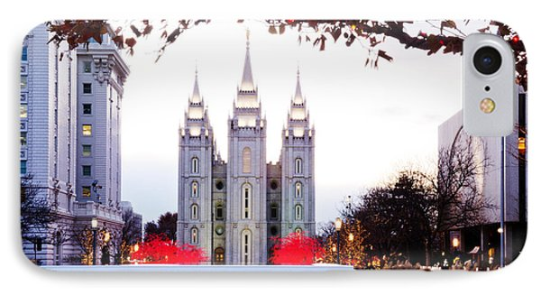 Slc Temple Red And White Phone Case by La Rae  Roberts