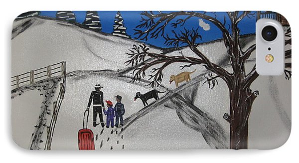 IPhone Case featuring the painting Sled Riding by Jeffrey Koss