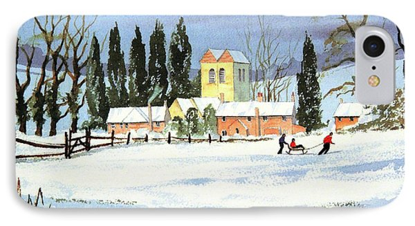 IPhone Case featuring the painting Sledding With Dad by Bill Holkham