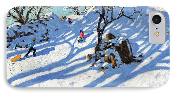 Sledging, Glutton Bridge, Buxton, Derbyshire IPhone Case by Andrew Macara