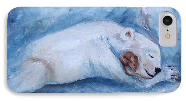 Sleeping Buddies Aceo Baby Polar Bear And Mouse IPhone Case by Brenda Thour
