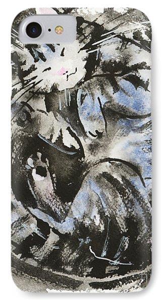 IPhone Case featuring the painting Sleeping Tabby Cat by Zaira Dzhaubaeva
