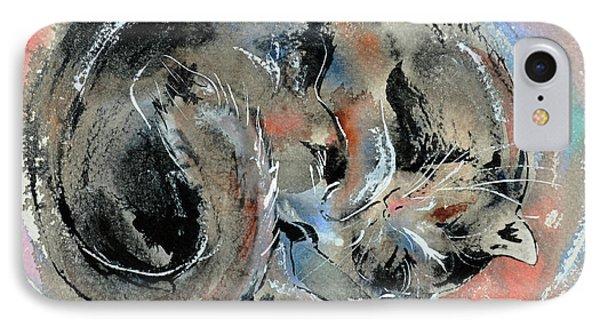 IPhone Case featuring the painting Sleeping Tortoiseshell Cat by Zaira Dzhaubaeva