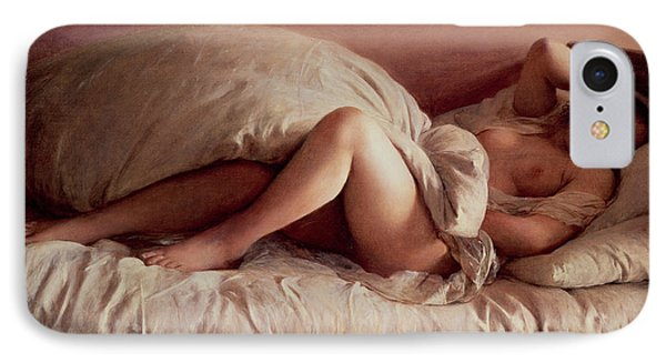 Sleeping Woman IPhone Case by Johann Baptist Reiter