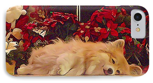 IPhone Case featuring the photograph Sleepy Holiday Corgi Surrounded By Poinsettias. by Kathy Kelly