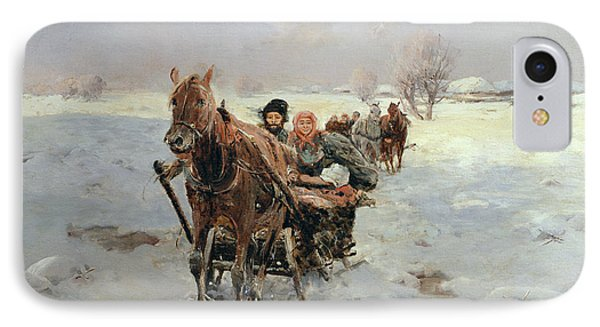 Sleighs In A Winter Landscape Phone Case by Janina Konarsky