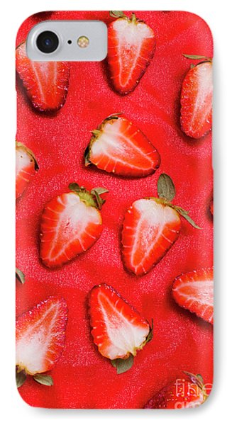 Sliced Red Strawberry Background IPhone Case by Jorgo Photography - Wall Art Gallery