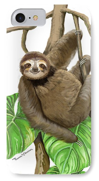 IPhone Case featuring the mixed media Hanging Three Toe Sloth  by Thomas J Herring