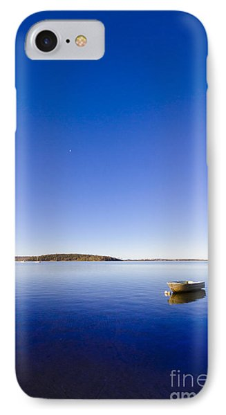 Small Boat Anchored Out To Sea IPhone Case by Jorgo Photography - Wall Art Gallery