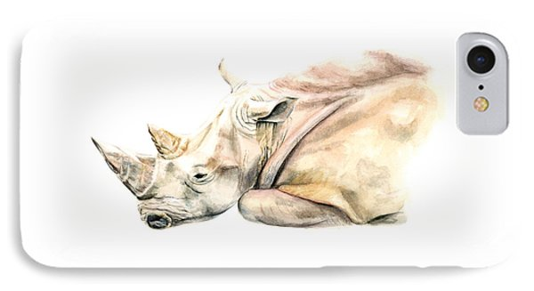 IPhone Case featuring the painting Small Colour Rhino by Elizabeth Lock