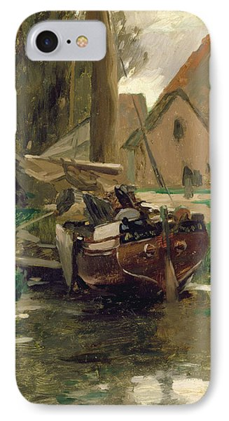 Small Harbor With A Boat  Phone Case by Thomas Ludwig Herbst