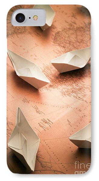 Small Paper Boats On Top Of Old Map IPhone Case by Jorgo Photography - Wall Art Gallery