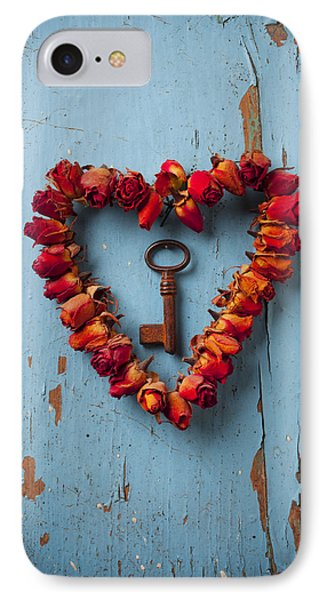 Flowers iPhone 7 Case - Small Rose Heart Wreath With Key by Garry Gay