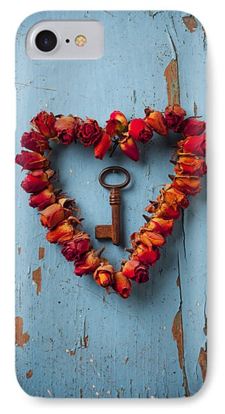 Small Rose Heart Wreath With Key Phone Case by Garry Gay