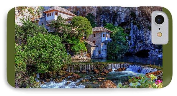 Small Village Blagaj On Buna Waterfall, Bosnia And Herzegovina IPhone Case by Elenarts - Elena Duvernay photo