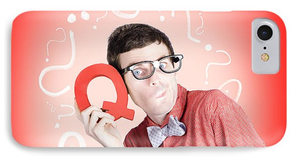 Smart Thinking Men With Q For Question Mark IPhone Case by Jorgo Photography - Wall Art Gallery