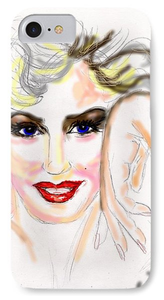 IPhone Case featuring the drawing Smile For Me Marilyn by Desline Vitto