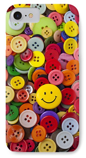 Smiley Face Button Phone Case by Garry Gay