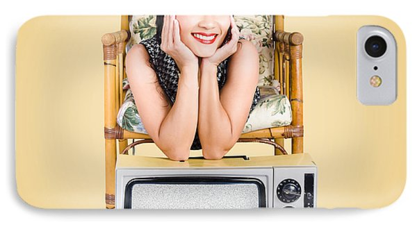 Smiling Beautiful Woman At Rest On Old Television IPhone Case