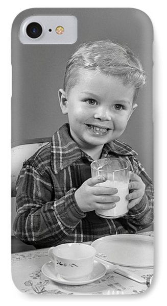 Smiling Boy With Glass Of Milk, C.1950s IPhone Case by H. Armstrong Roberts/ClassicStock