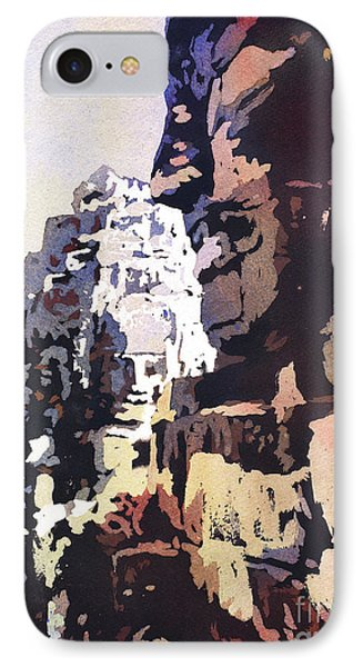 IPhone Case featuring the painting Smiling Faces- Bayon Temple, Cambodia by Ryan Fox
