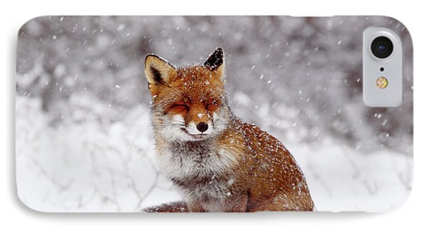 Smiling Fox In A Snow Storm IPhone Case by Roeselien Raimond