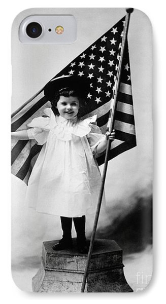 Smiling Little Girl With Us Flag IPhone Case