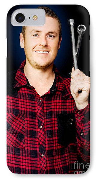 Smiling Mechanic With A Lug Wrench IPhone Case by Jorgo Photography - Wall Art Gallery