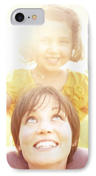 Smiling Mother Holding Daughter IPhone Case by Gillham Studios