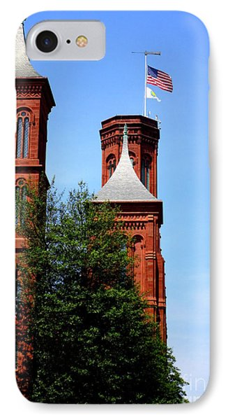Smithsonian Castle 3 IPhone Case by Randall Weidner